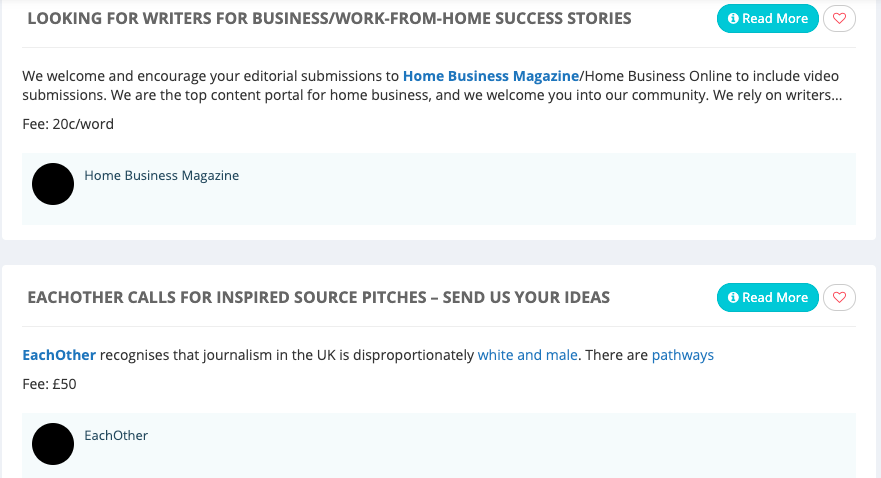 A sample listing of jobs available on Pitchwhiz